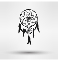 Dream catcher silhouette in black color isolated vector