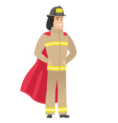firefighter wearing a red superhero cloak vector image