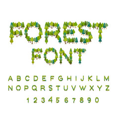 Forest font tree alphabet letter from tree nature vector