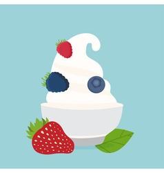 Frozen yogurt in cup with berries design vector