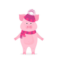 funny pig in a hat with a bushy pompon and a vector image