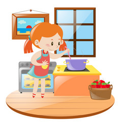Girl cooking in the kitchen vector