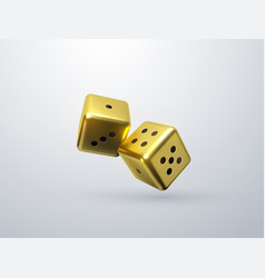 golden dices isolated on white background vector image