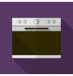 Gray stove flat icon vector image