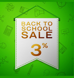 grey pennant back to school sale three percent vector image