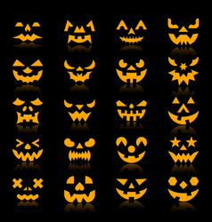 Halloween pumpkin color silhouette face icon set vector