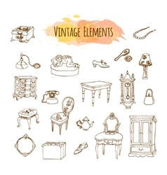 Hand drawn vintage elements Antique furniture vector image