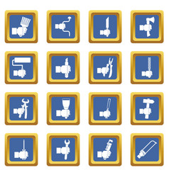 Hand tool icons set blue vector
