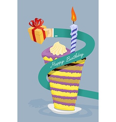 Happy birthday card Hand gives gift Long arm vector image