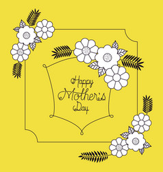 happy mothers day with floral decoration card vector image