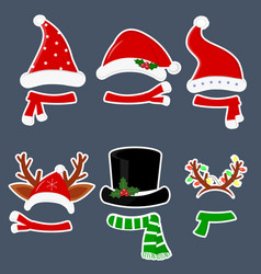 happy new year and merry christmas set of six vector image