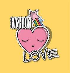 heart with eyes and star raibow fashion patches vector image