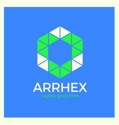 Hexagon arrow logo vector