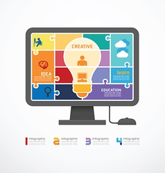 Infographic Template computer jigsaw banner vector