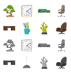 isolated object of furniture and work icon set of vector image