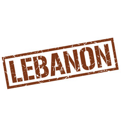 lebanon brown square stamp vector image