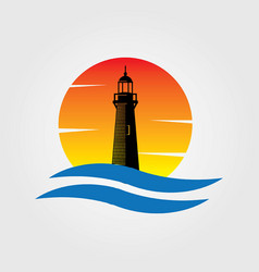 Lighthouse sunset water wave logo vector