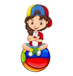 Little girl sitting on the ball vector