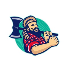 Lumberjack Logger With Axe Retro vector