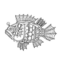 Mechanical fish animal engraving vector