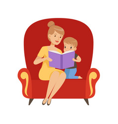 Mother reading a book to her little son sitting in vector