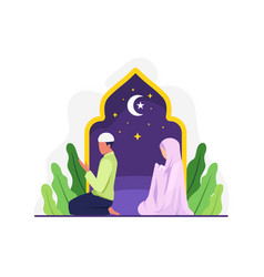muslim man and his wife doing prayer together vector image