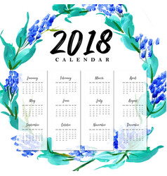 new year 2018 water color floral calender vector image