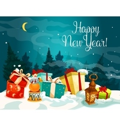 New Year gift boxes on white snow vector image