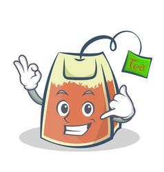 Okay tea bag character cartoon art for vector