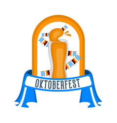 oktoberfest label with a beer glass icon vector image