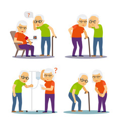 old man and woman sick old mens womens disease vector image
