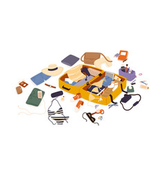 Open suitcase with scattered female travel vector