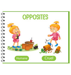 Opposite words with humane and cruel vector
