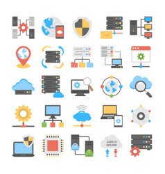 Pack web hosting process flat icons vector