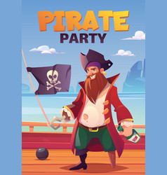 pirate party cartoon poster with bearded captain vector image