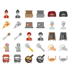 Pizza and pizzeria cartoonmonochrom icons in set vector