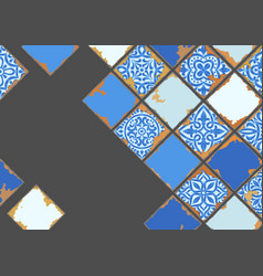 Portuguese azulejo vintage ceramic tile background vector