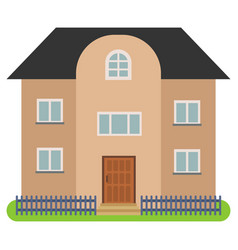 Private house with a black roof and brown walls vector