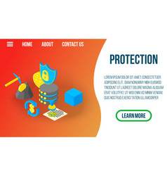 protection concept banner isometric style vector image