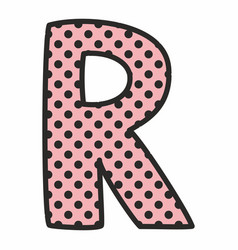 R alphabet letter with black polka dots on pink vector