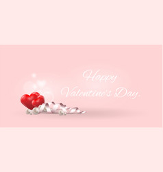 red heart and pearlhappy valentine daylovely card vector image