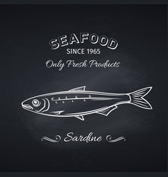 sardine icon badge fish vector image