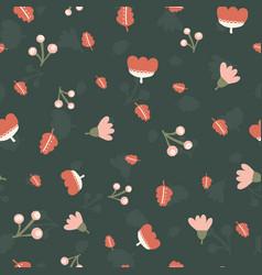 scattered flowers leaves berries seamless vector image