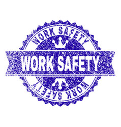 Scratched textured work safety stamp seal with vector