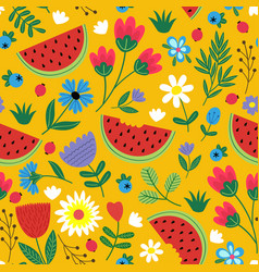 Seamless flowers pattern with watermelon vector