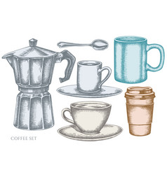 set hand drawn pastel coffee cups vector image