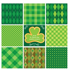 Set of green seamless patterns for St Patricks Day vector