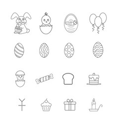 Set of happy easter icons the celebration vector
