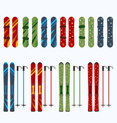 Set of male and female skis and snowboards vector