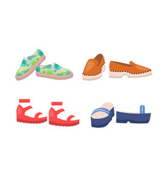 shoes collection summer mode vector image